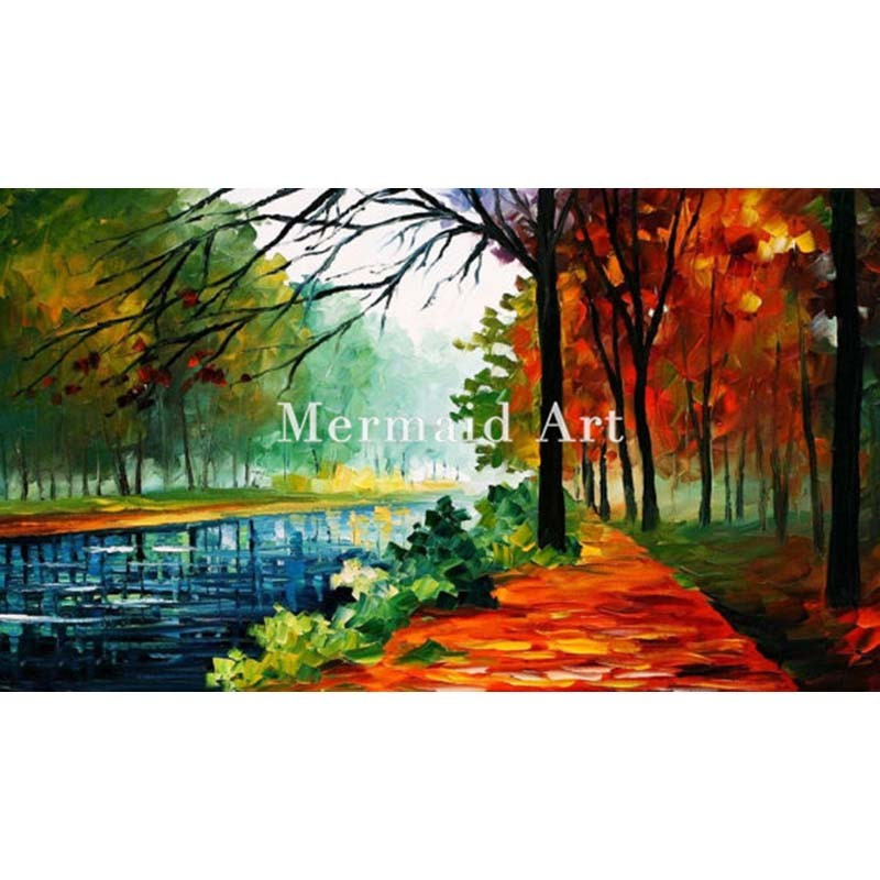 Buy Hand Painted Landscape Abstract Palette Knife Modern November Park Oil Painting Canvas Wall Living Room Artwork Fine Art cheap