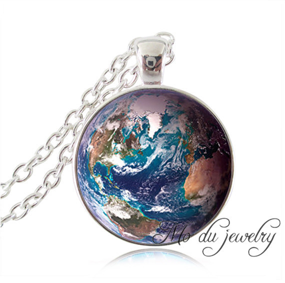 Silver plated earth pendant turquoise blue white rose earth necklaces planet Astronomy geek jewelry women statement necklace(China (Mainland))
