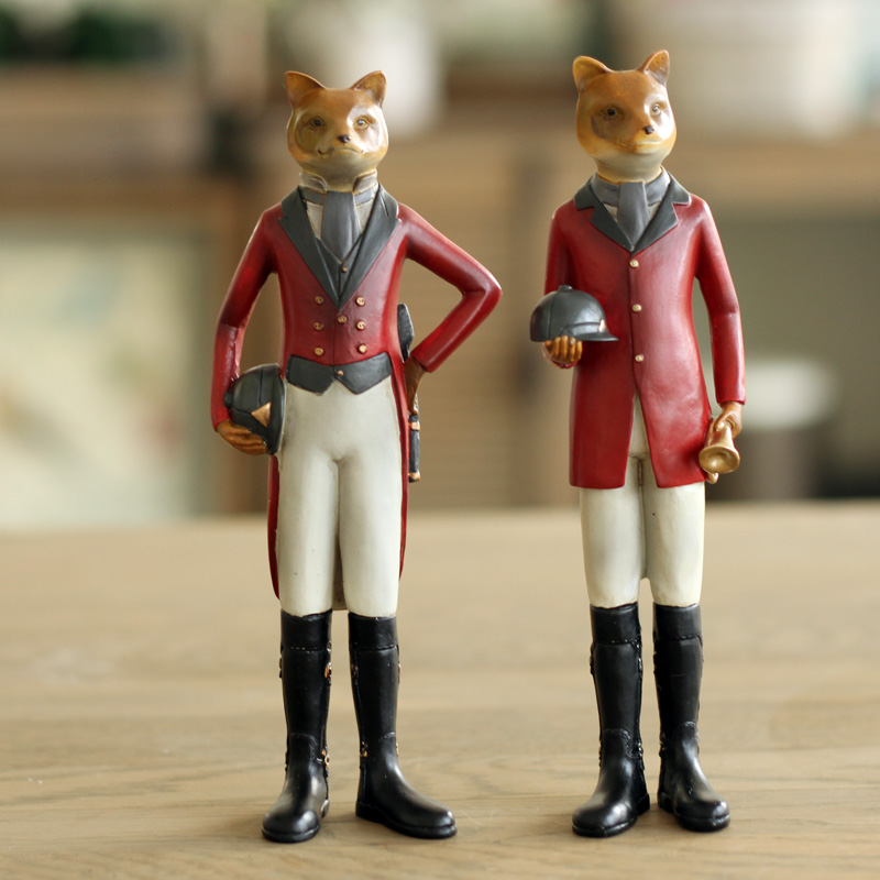 2 PCS French Country Style Fox Gentleman Fox in Tuxedo Home Decor Bedroom Decor
