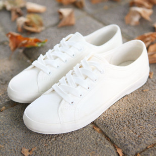 2014 new all-match female low front tie art fan plain low pure female white canvas shoes<br><br>Aliexpress