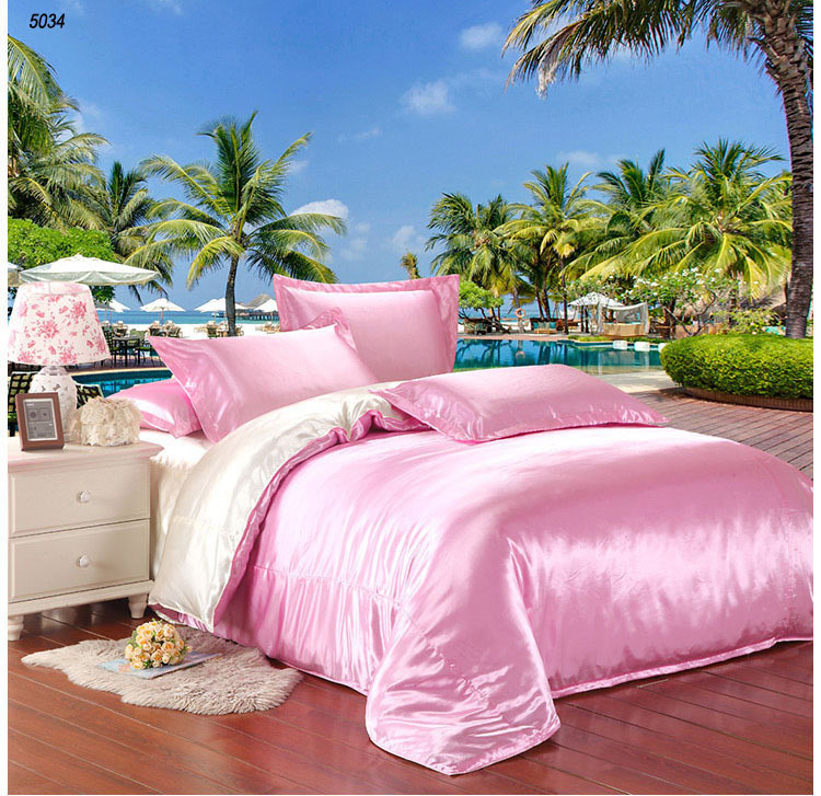 Pink and milk white two sides silk bedding set satin silk bed linen silk quilt cover with zipper bed sheet pillowcases 5034(China (Mainland))