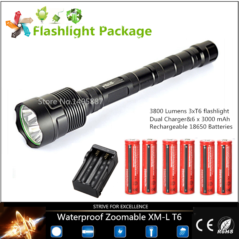 Limit discounts!30W 3800 lumens waterproof Flashlight 3 x T6 LED Hunting outdoor lamp light Torch+Dual Charger+6x18650 Batteries(China (Mainland))
