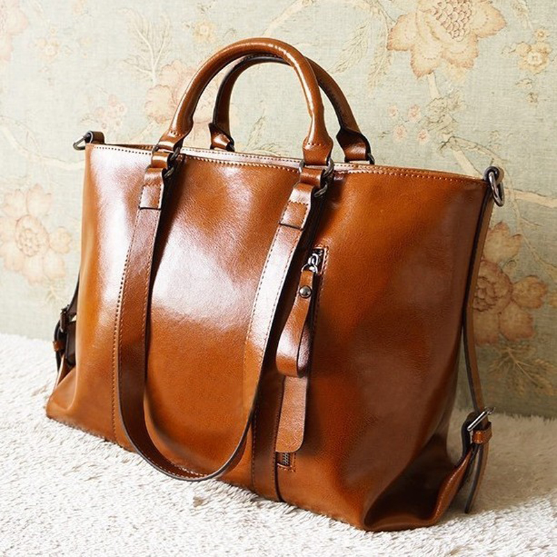 2013 Fashion vintage Oil Wax leather bag cowhide women ...