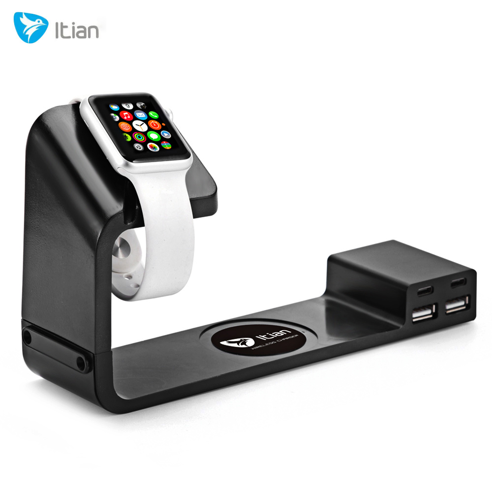 Itian A12 Charger Stand for Apple Watch Mobile Phone Power Adapter with Dual USB Port 2 Type-C Output Adapter(China (Mainland))