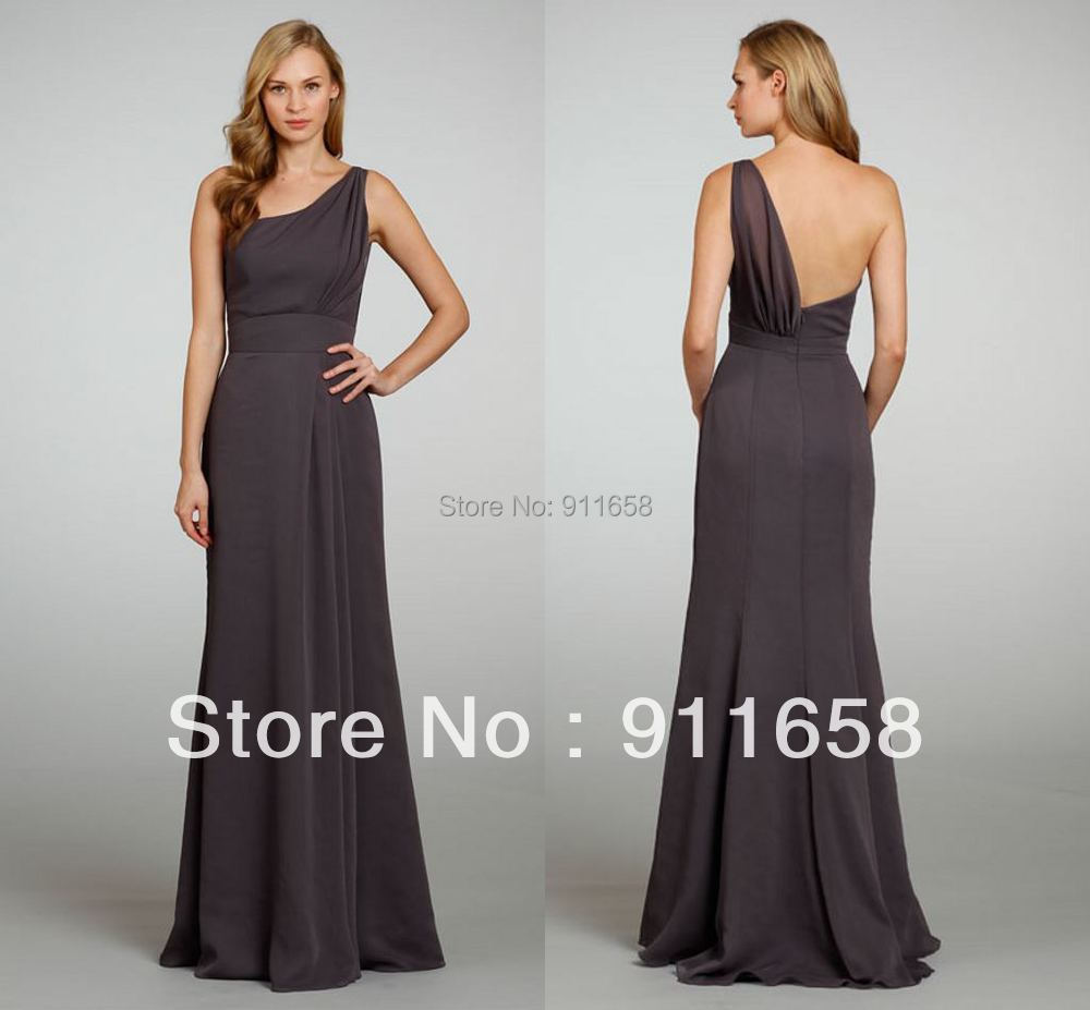 Dark gray bridesmaid dresses of one shoulder satin ruffles for Plus size one shoulder wedding dress