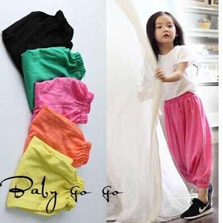 2015 Brand Fashion Kids girl harem pants children colorful casual Elastic Waist girls PP long trousers. Children cross pants(China (Mainland))