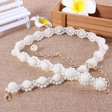 12pcs/lot Sweet Pearls Flower Waist Chains Elastic Beads Waistbands Belts Ladies Make Up Decoration os841(China (Mainland))