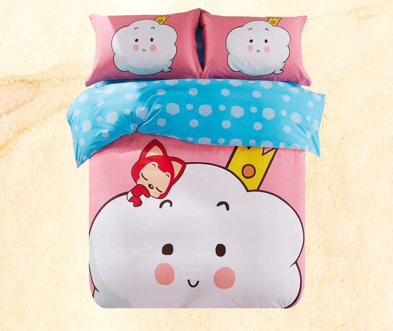 2015 Children Comfortable soft ALi Cartoon Single bed Quilt sets Cotton bedding four sets of bedding 4pcs duvet cover bed sheet(China (Mainland))
