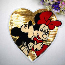 Sequins heart lovers Mickey patches for clothing down coat, jacket men, men jeans, women jeans, t shirt, blusas, skirt, snapback(China (Mainland))