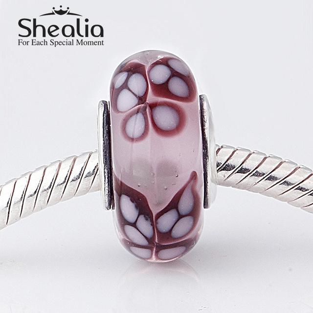 SHEALIA стерлингового серебра 925 шарма бабочки с розовым муранского стекла бусы подходит известного бренда diy шарм браслеты HT288