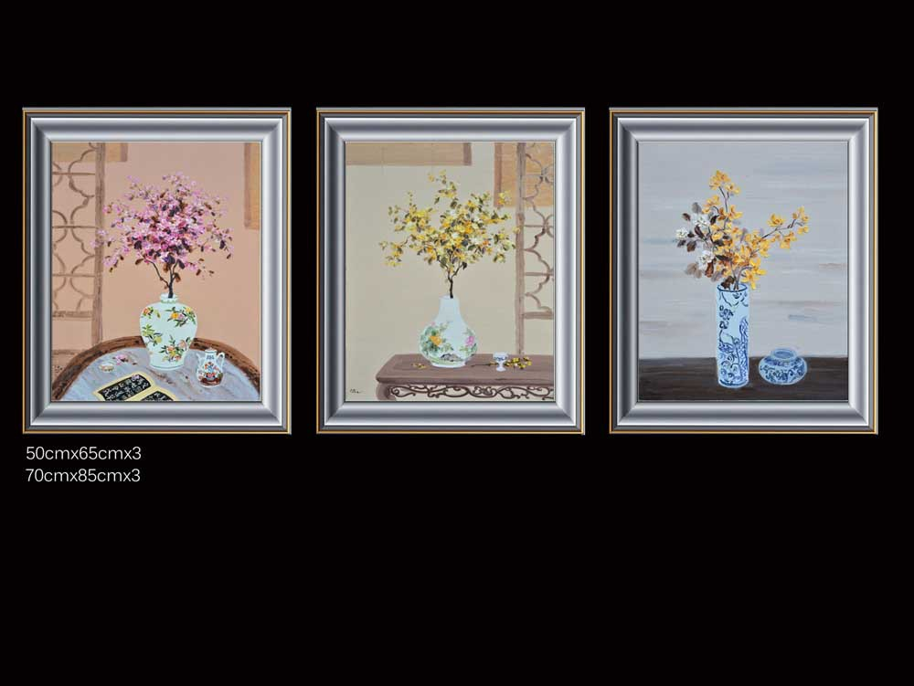 Painted high-quality ( flowers ) canvas art gallery set oil on canvas, modern home decorative murals, knife painting(China (Mainland))