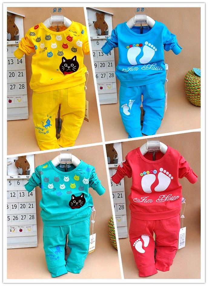 Hot sale Spring / Autumn Candy color cartoon baby 2pcs cloth set infant long sleeve cloth suit Top T shirt + pants(China (Mainland))