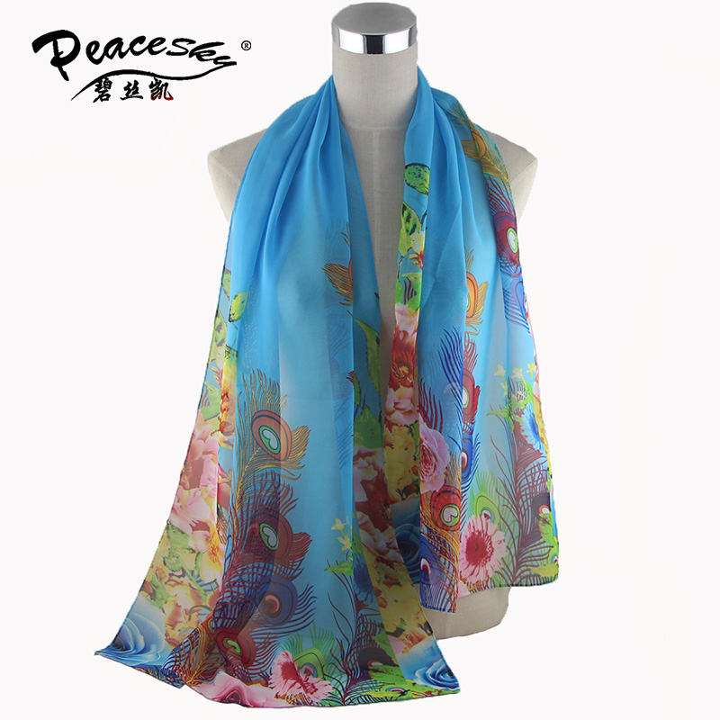 new fashion style flowers Butterfly peacock Scarves women's scarf long shawl spring silk pashmina chiffon infinity scarf(China (Mainland))