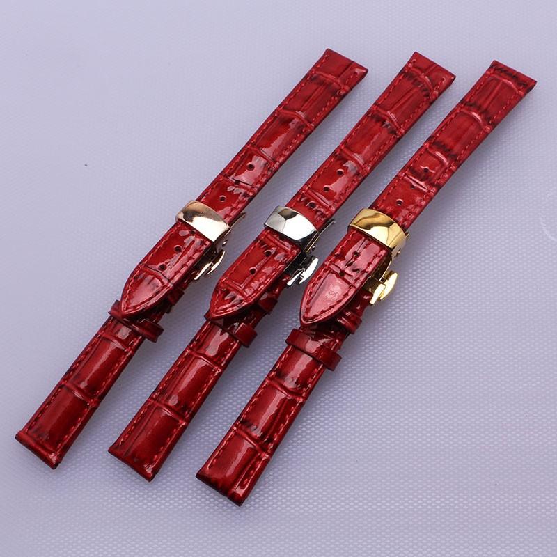 14 мм 16 мм 17 мм 18 мм 20 мм Ремешок Для Часов красный часы дамские аксессуары ремешок серебряный пряжки две боковые кнопки fit марка платье часы