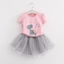 Buy Hot Cute Summer Girls Clothing Sets Casual Cotton Short Sleeve T-shirt+yarn tutu Skirts Children Kids Girl Clothes 2pcs Set 2-7Y for $8.26 in AliExpress store