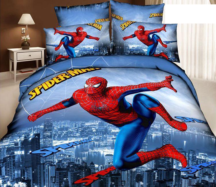 3D Spiderman Kids cartoon bedding sets bedroom children queen size quilt duvet cover bedspread bed in a bag sheets linen cotton(China (Mainland))