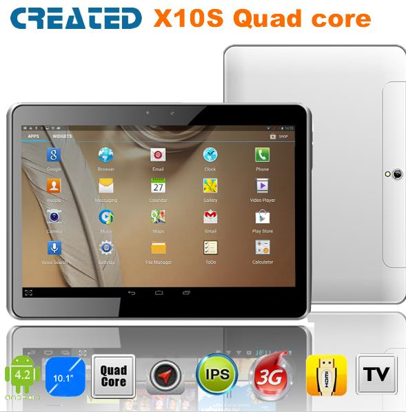 S01035 CREATED X10S 10 inch Android 4.2 Quad Core Tablet Pc 3G Dual SIM Card With GPS / Bluetooth / Dual Camera + Free Shipping(China (Mainland))