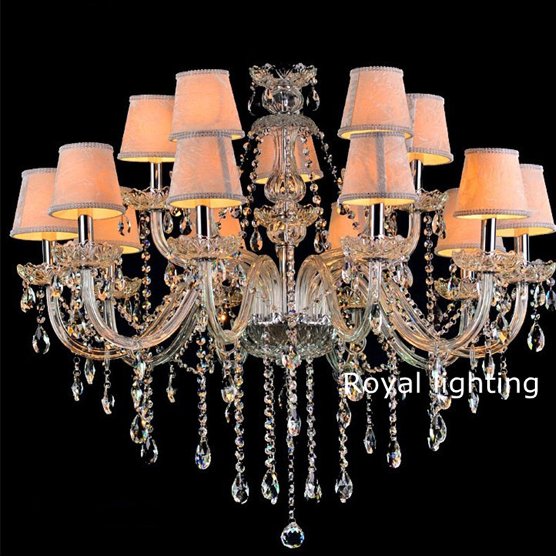 Discount crystal chandelier led lamps vintage chandeliers with fabric shades for villa hotel - Old chandeliers cheap ...