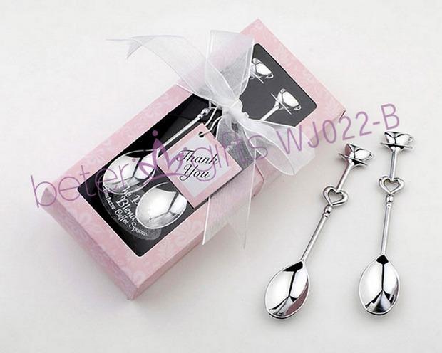 Free Shipping 200pcs=100pair Silver Chrome Demitasse Spoons gift set BETER-WJ022/B Pink Box(China (Mainland))