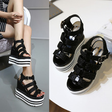 2016 Summer New Korean Casual Footwear Fashion Womens Black Platform Wedge Sandals For Ladies Discount(China (Mainland))