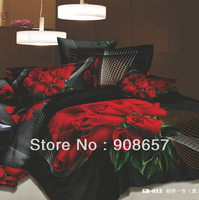 500 thread count black red rose flower printed girls bedding 3D oil painting bed linen cotton full queen duvet covers sets 4pcs
