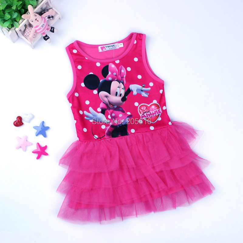 2016 New Summer Girls Dress Tutu Princess Baby Minnie Dress Baby Casual Paty Dress for 1-5 Years Kid Dress(China (Mainland))
