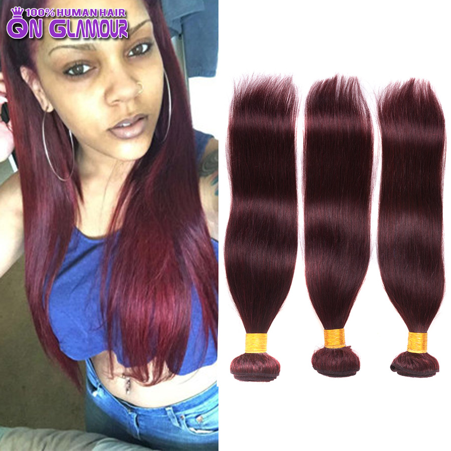 7A Grade 99J Red Human Hair Straight 3 Bundles Burgundy Malaysia Virgin Hair Extensions Milky Way Red Straight Hair Weave(China (Mainland))