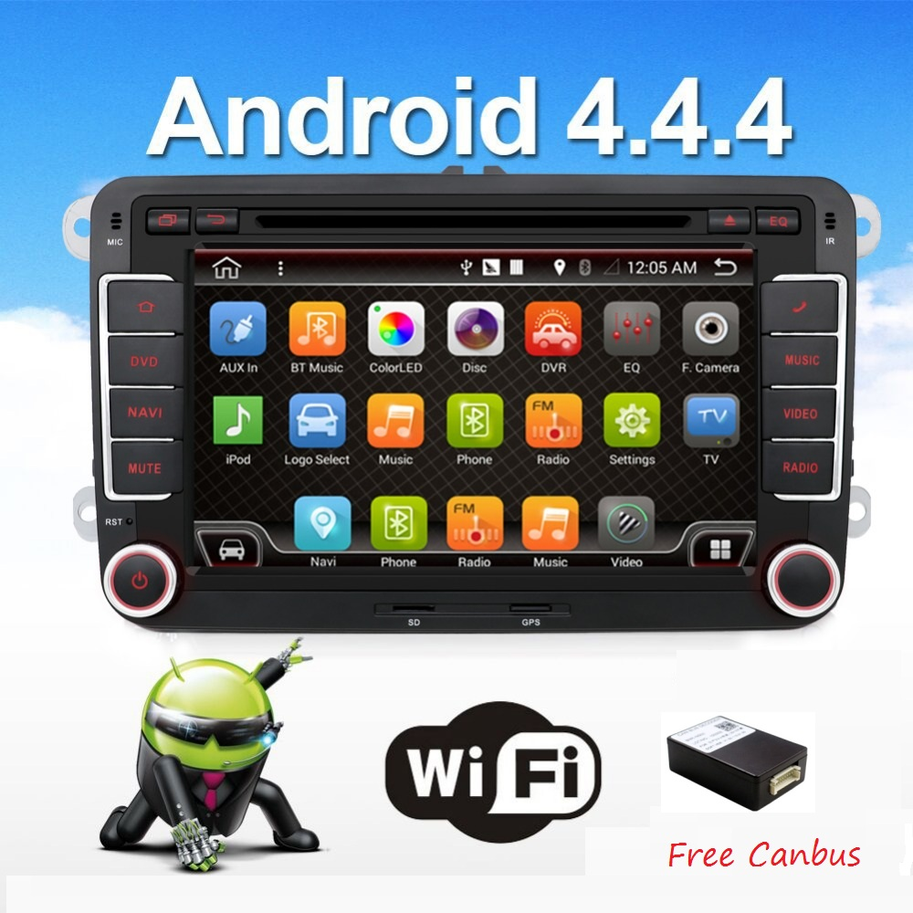2 two din Aux gps Quad Core android 4.4 car dvd player TV For VW Skoda POLO GOLF 5 6 PASSAT CC JETTA TIGUAN TOURAN Fabia Caddy(China (Mainland))