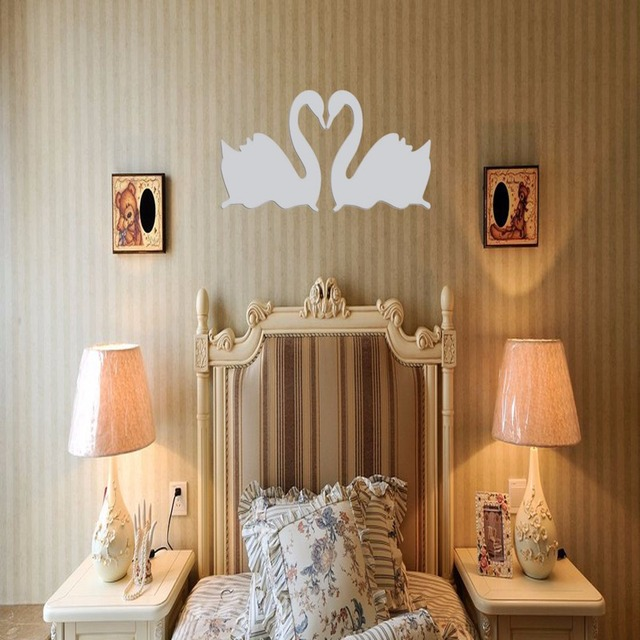 double silver swan design 3d mirror diy wall stickers home bedroom living room aliexpresscom buy office decoration diy wall
