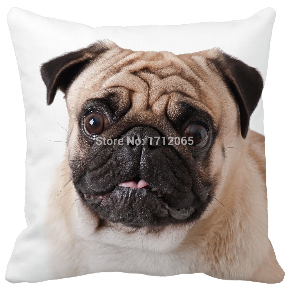Simple Styel Love cute Pug Pattern Print Custom Home Decorative Throw Pillow almofadas decorate pillow sofa chair cushion(China (Mainland))
