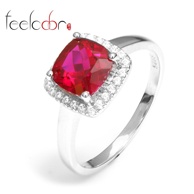 2014 Brand Hot Women Delicate Princess Cut 2.5ct Pigeon Blood Red Ruby Beautiful Engagement Ring Set 925 Solid Sterling Silver<br><br>Aliexpress