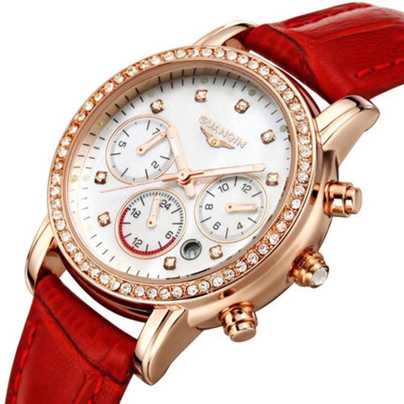 2016 new fashion Women watch quartz waterproof Sapphire wrist watches original brand GUANQIN lady diamond dress watches(China (Mainland))
