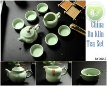 8pcs Warm Jade Chinese Ru Yao Kiln Ceramic Teaset Sky Cyan Rare Tea Set,1 Tea Pot,1 Justice Cup,6 Teacups,Porcelain RY002-7