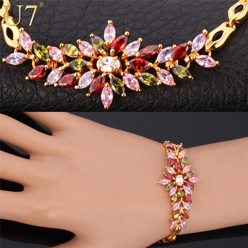 Luxury Zirconia Bracelet Women Gift New Trendy 18K Real Gold Plated Colorful AAA Zircon Flower Jewelry 18 CM Chain Bracelet H556(China (Mainland))