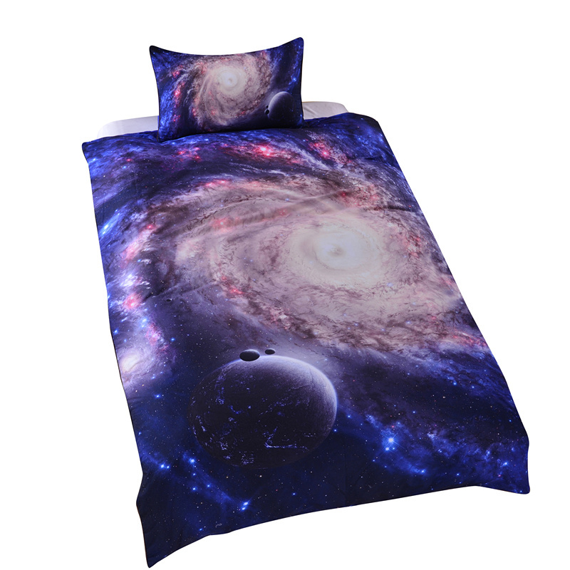 2015 New Amazing Hot Galaxy Bedding Set Close to Galaxy Quilt Cover Set Twin Single Full(China (Mainland))