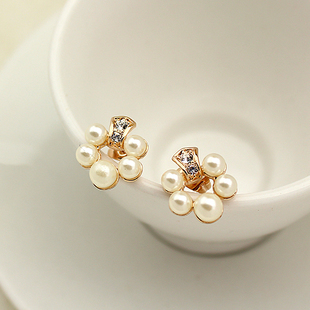 Mixed order $15 Brand Red apple Handama Pearl stud earrings,Environmental alloy by 18K golded plated & Austria Rhinstone,RAE036(China (Mainland))