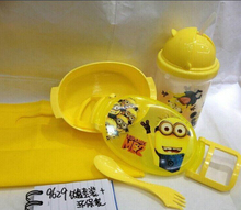 Free shipping new 2015 Minions cartoon Dinnerware Sets (Lucn box +300MLBottel +Luch bags) bento lunch box set(China (Mainland))