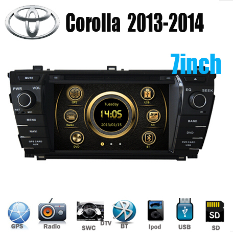 "7"" 2Din Indash Car DVD Player Multimedia System GPS Stereo BT IPOD WIFI DVBT TV 3G For TOYOTA New Corolla Altis Axio 2013-2014(China (Mainland))"