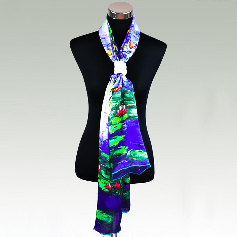 100% Silk Georgette Satin Scarf 65cm*170cm Long Shawl Pure Silk Scarves New Desigual Autumn&Winter Green Flower Printed Pattern