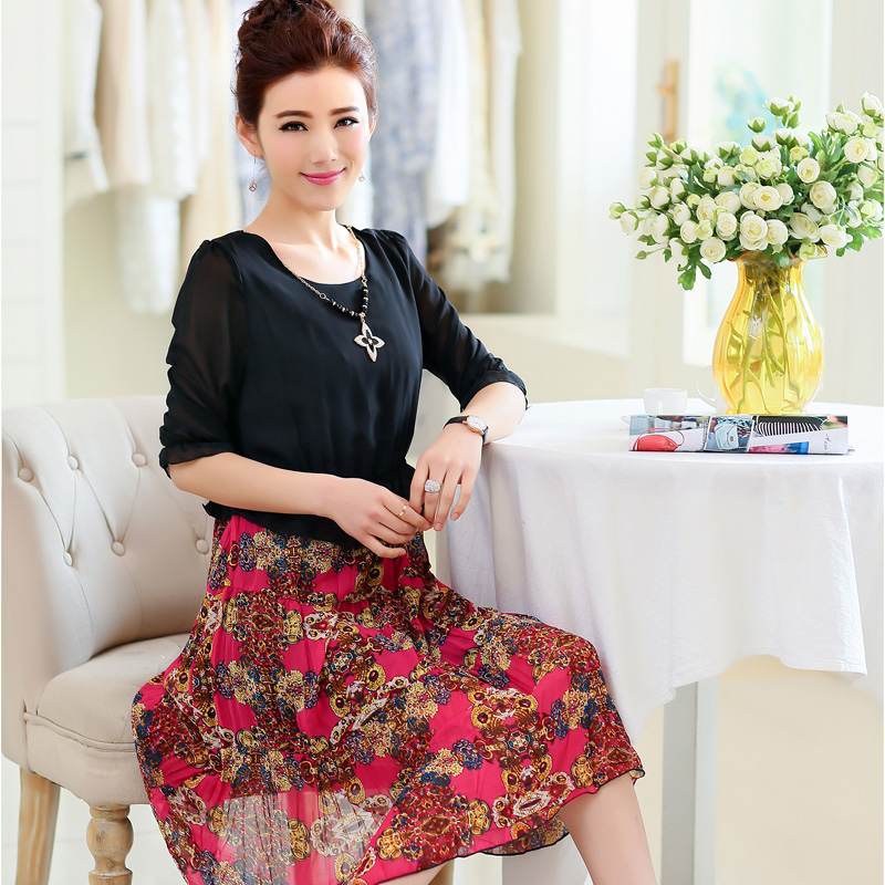 Older women summer middle-aged mother mother's day dress new summer 40-50 chiffon shirt(China (Mainland))
