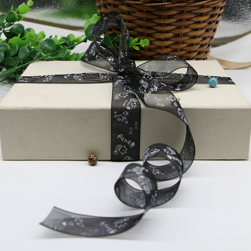 2 cm wide DIY ribbon snow yarn with butterfly ligation with ribbon gift box packaging organza ribbon 5yards(China (Mainland))