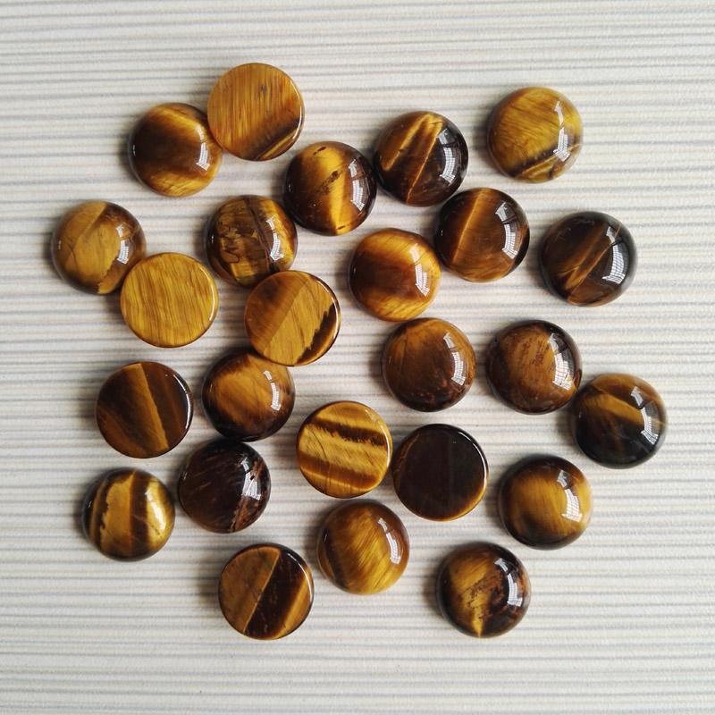 Natural Stone round Beads 14x14mm Tiger Eye round cabochon Fashion Jewelry stones DIY beads 50Pcs/lot Wholesale(China (Mainland))