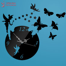 Buy Z025 Diy Fashion Home Decoration Butterfly Wall Sticker Mirror Surface Mirror Clock Decal Living Room Mute Wall Clock Home Decor for $9.95 in AliExpress store