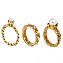 South Korea Imported Jewelry Fashion Retro Pearl Flower Knuckle Ring Anillos AnelThree Piece Mix Index Finger