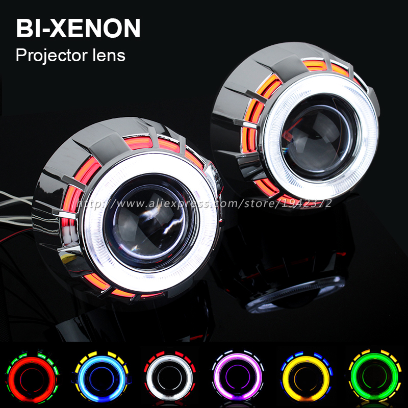 Bi Xenon Projector Lens Headlight Kit 2.8 Inch Double Angel Eyes Car Styling Night Light HID Headlap Lenses, Use H1 Bulbs(China (Mainland))