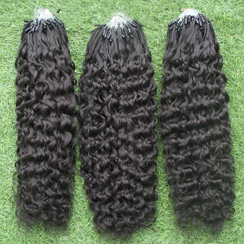 100%Remy Virgin Hair Cheap FactoryTop 7a  kinky curly Hair  Natural black 100G Micro Loop Hair Extensions Free Shipping<br><br>Aliexpress