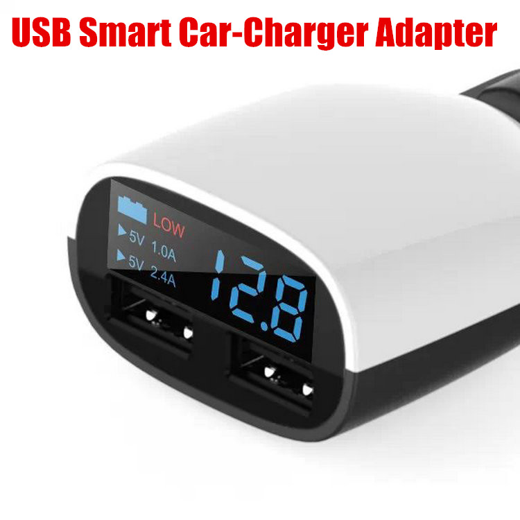 New 3.4A Fast Charging Car Charger Dual USB Smart Car-Charger Adapter With Voltage Current Digital LED Display free shipping(China (Mainland))