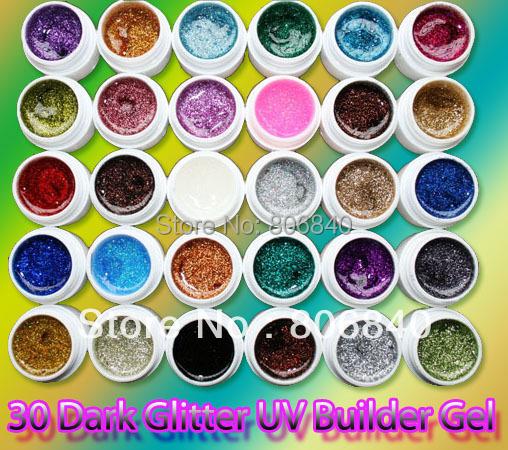 FREE SHIPPING 30 sparkle colors uv gel color set nail gels nail polish PRO Nail Art Builder Gel Wholesale(China (Mainland))