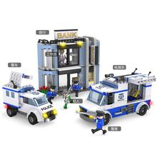 COGO 13915 Police Building Block Sets Rob the BankToy Car Helicopter 570pcs Educational DIY Bricks Toys