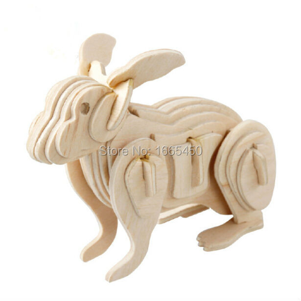 New imaginative 3D Wooden Jigsaw Puzzle Rabbit model toys DIY suite for children and adult wooden toys(China (Mainland))